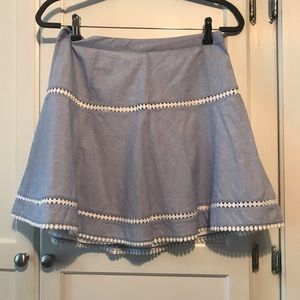 Blue summer skirt with white accents